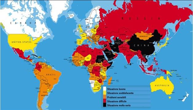La classifica mondiale per la libertà di informazione. Italia al 73esimo posto.
