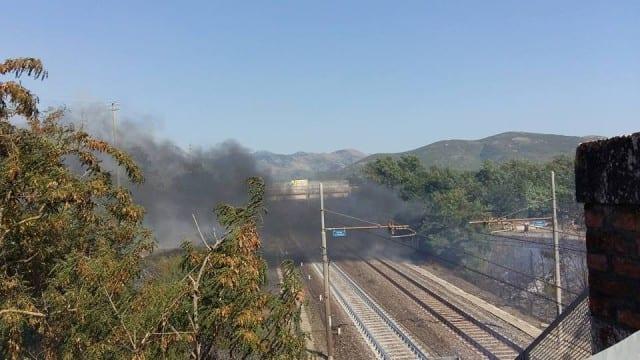incendi 18 luglio 2015 Fondi, ferrovia