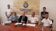 Un momento della conferenza stampa dell'agosto scorso: da sinistra il sostituto procuratore Mattei, l'ex procuratore capo Auriemma, l'ex comandante Cosmo Nicastro