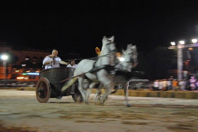 La corsa delle bighe che si è svolta in largo Paone nell'edizione 2012