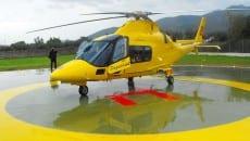 L'elicottero 118 sulla elisuperficie all'ex Enaoli
