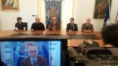Un momento della conferenza stampa del 12 dicembre