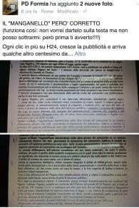 Il post di Francesco Carta sulla pagina del Pd di Formia, corredata dalla denuncia