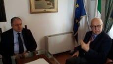 Un momento dell'incontro tra il sindaco Bartolomeo e Roberto Cecere