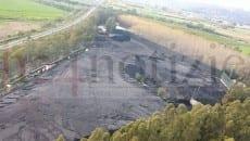 il deposito di Sessa Aurunca fotografato dall'alto a fine marzo