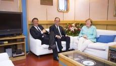 Da sinistra Matteo Renzi, Francois Holland, Angela Merkel