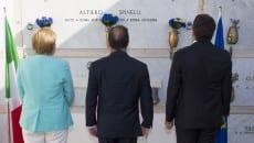 I tre Capi di Stato omaggiano la tomba di Altiero Spinelli