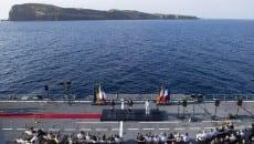 Un momento della conferenza stampa dalla nave portaerei Garibaldi (Foto: Palazzo Chigi/Flickr)