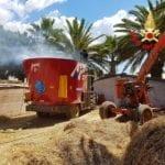 Latina, incendio ad un macchinario agricolo (video)