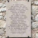 Lenola, scoperta la targa commemorativa a casa Ingrao