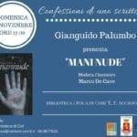 'Mani nude': Gianguido Palumbo a Cori per le 'Confessioni di uno scrittore'
