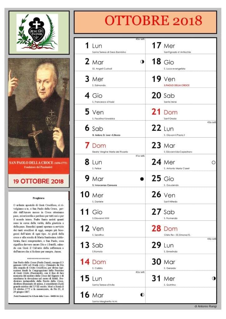 Calendario E Santi.Padre Rungi Calendario 2018 Dedicato Ai Santi E Beati