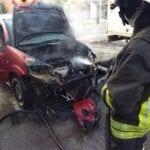 Aprilia, auto a Gpl in fiamme: intervento dei vigili del fuoco