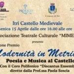 """""""Modernità in metrica"""", la poesia torna al castello di Itri"""