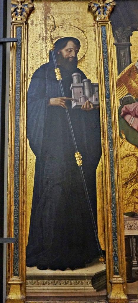 S. Onorato nel Trittico dell'Annunciazione di Cristoforo Scacco (1499)