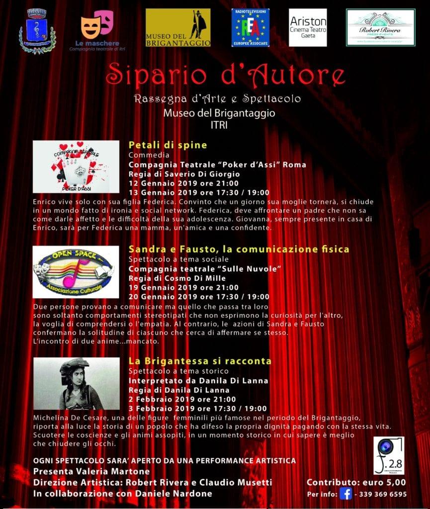 Sipario Dautore Itri Gennaio 2019 H24 Notizie Portale