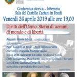 """""""Toccatemi tutto, ma non la libertà"""", la Conferenza a Fondi il 26 aprile"""