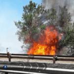 Incendio lambisce la Pontina, chiusure e restringimenti: traffico in tilt